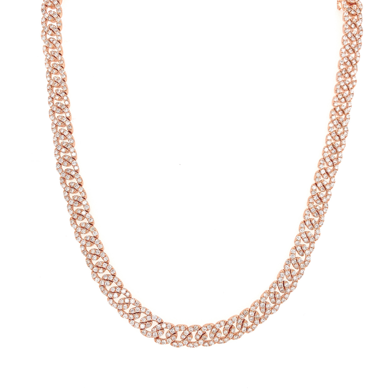 Rose Gold Diamond Link Necklace - Lesley Ann Jewels