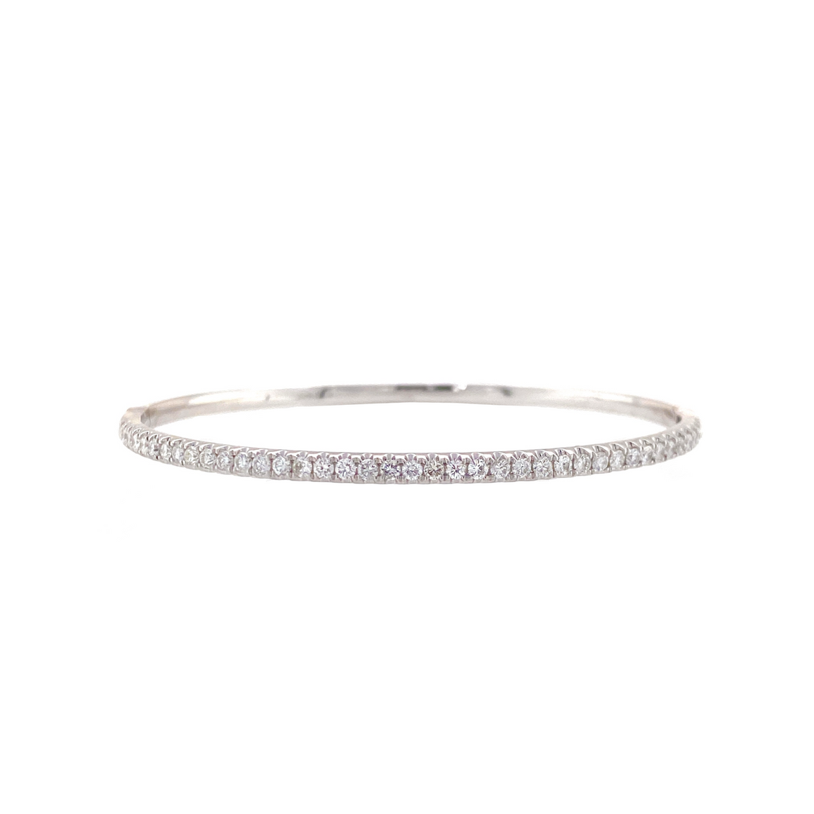 White Gold Thin Diamond Bangle - Lesley Ann Jewels