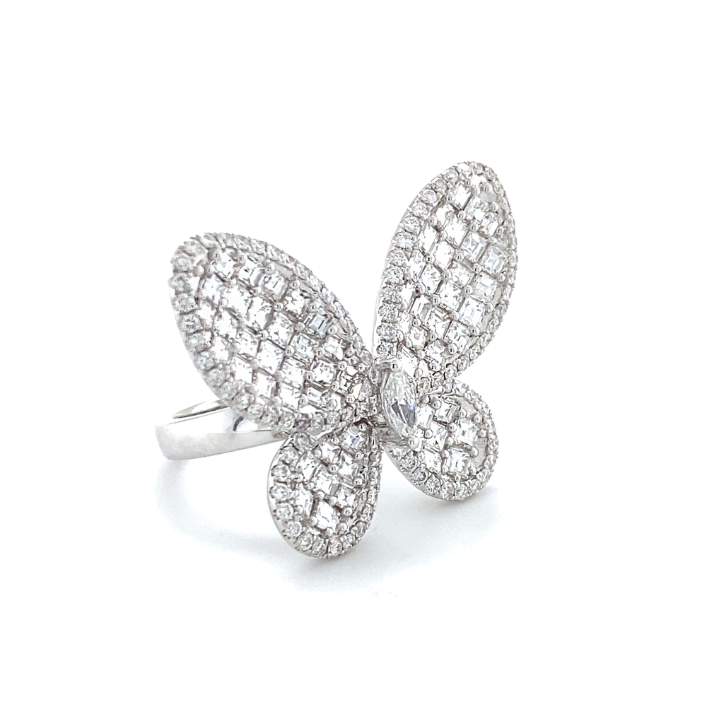 Large Diamond Baguette Butterfly Ring White Gold - Lesley Ann Jewels