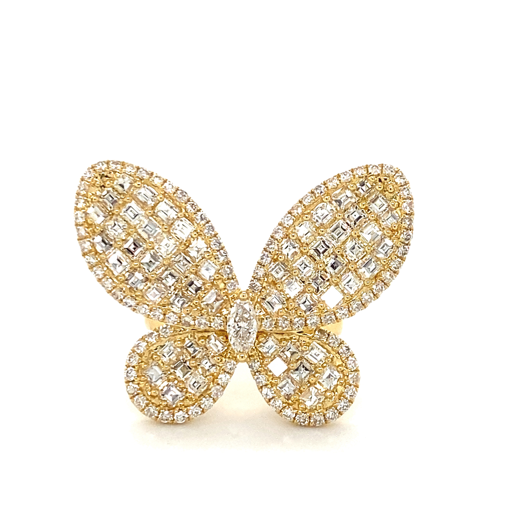 Large Diamond Baguette Butterfly Ring - Lesley Ann Jewels