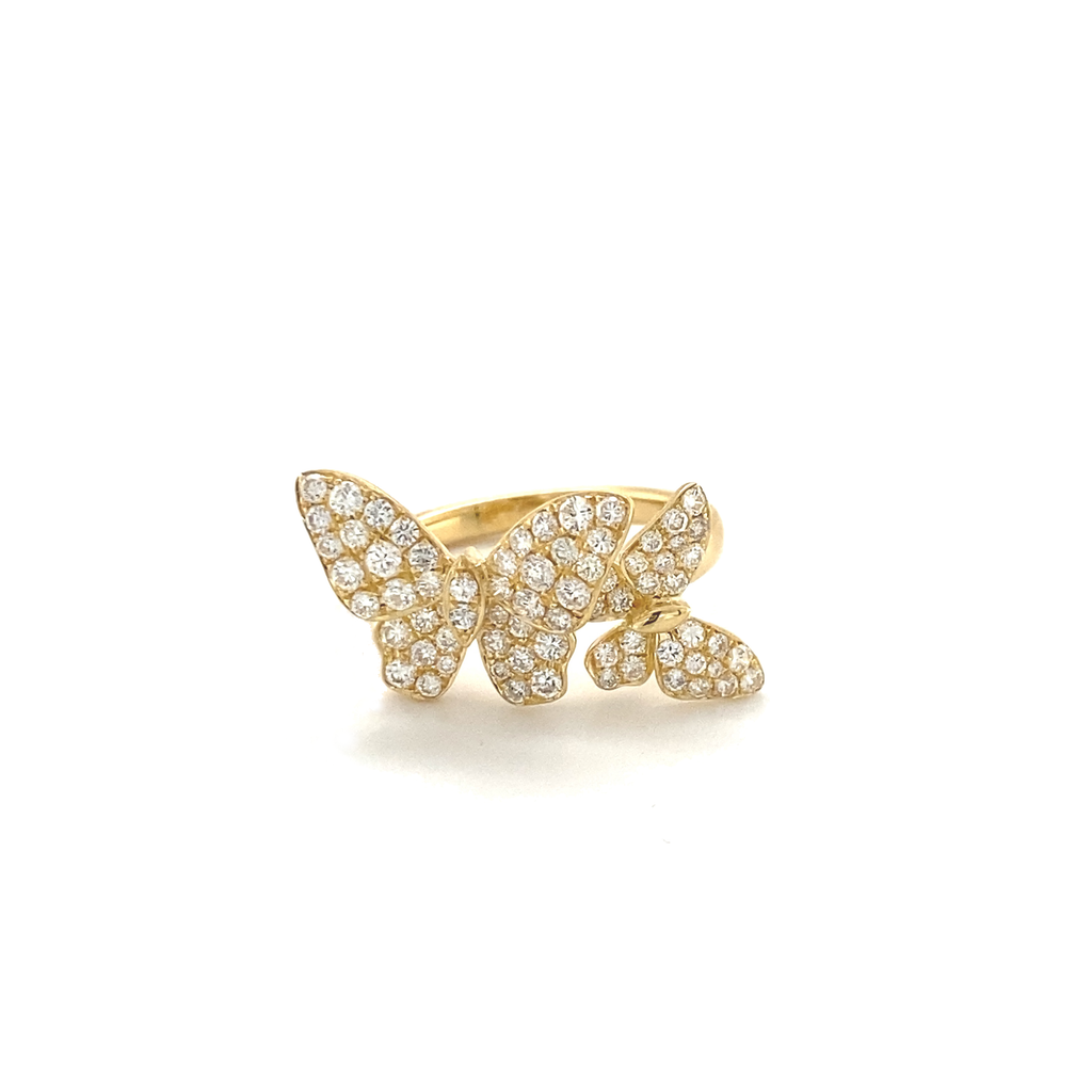Small Yellow Gold Diamond Double Butterfly Ring - Lesley Ann Jewels