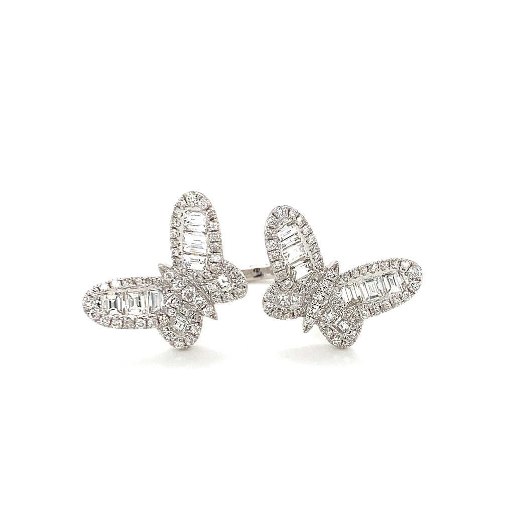 Large Double Butterfly Baguette Diamond Ring - Lesley Ann Jewels