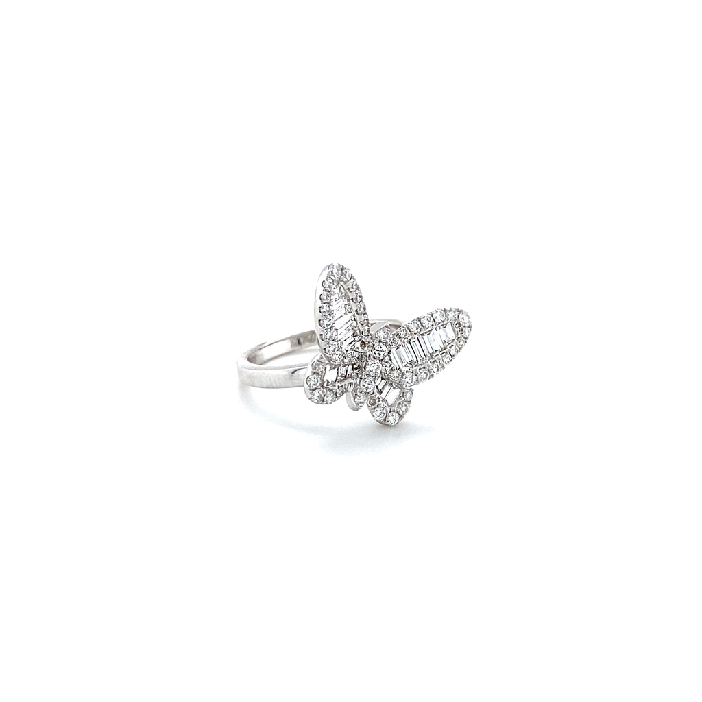 Off-Center Baguette Butterfly Diamond Ring - Lesley Ann Jewels