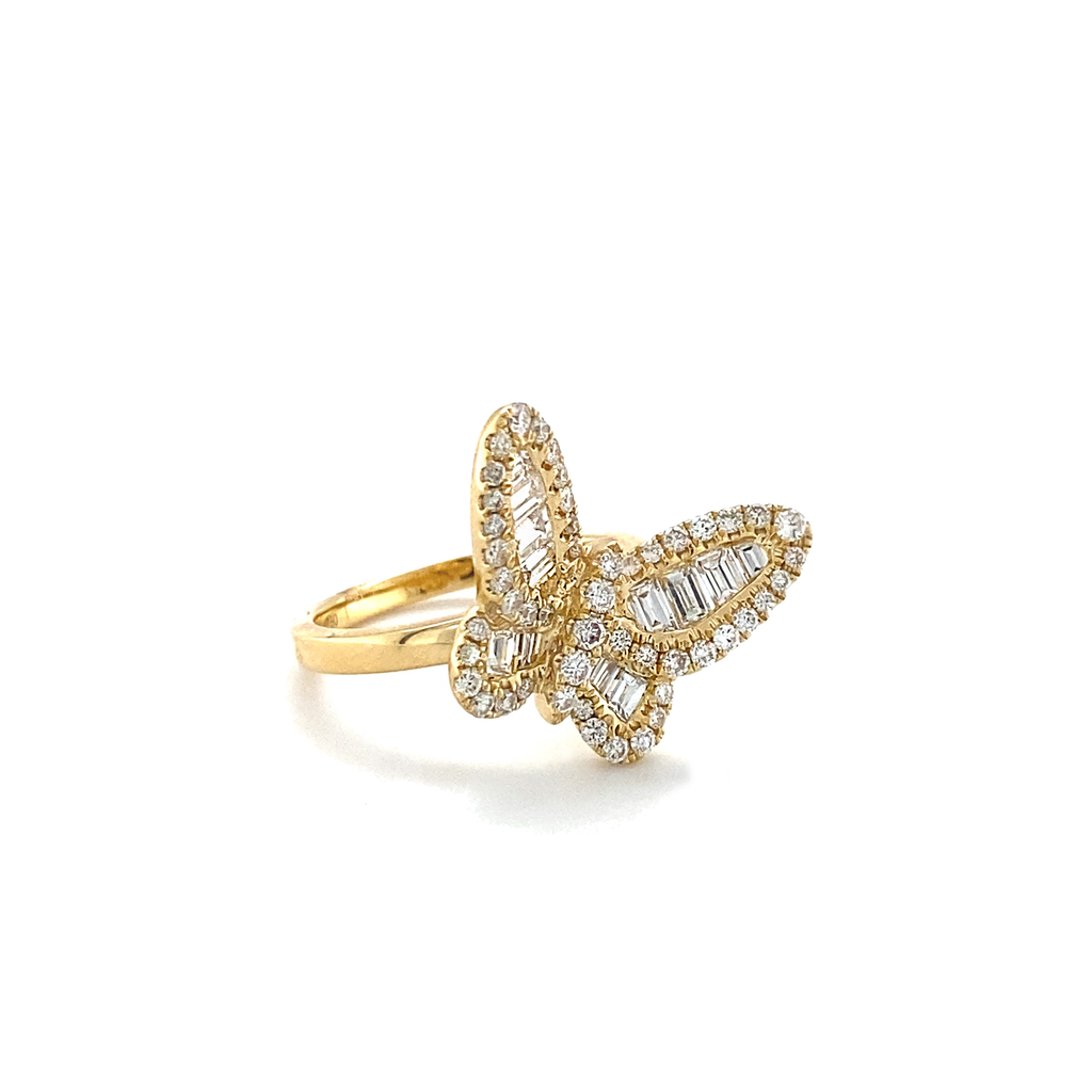 Yellow Gold Off-Center Baguette Butterfly Diamond Ring - Lesley Ann Jewels