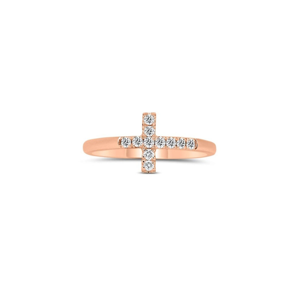 Rose Gold Cross Ring - Lesley Ann Jewels