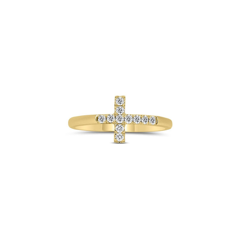 Yellow gold cross ring