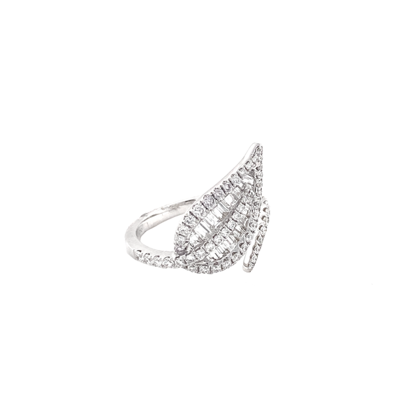 Baguette Leaf Ring - Lesley Ann Jewels