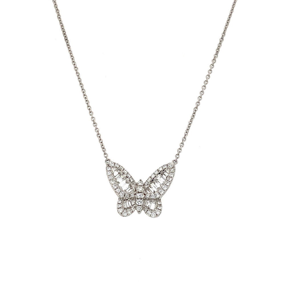 Small White Gold Diamond Butterfly Necklace - Lesley Ann Jewels