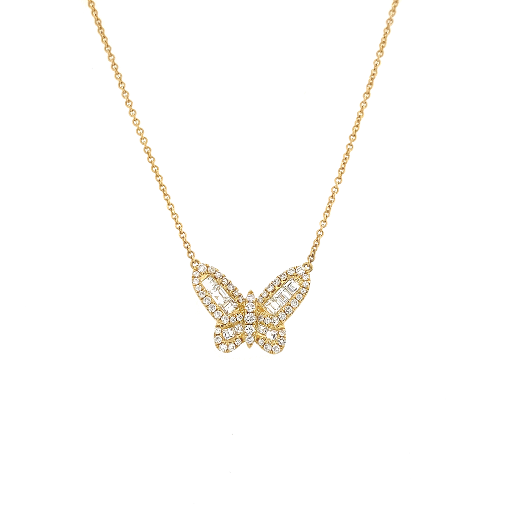 Small Diamond Baguette Butterfly Necklace - Lesley Ann Jewels