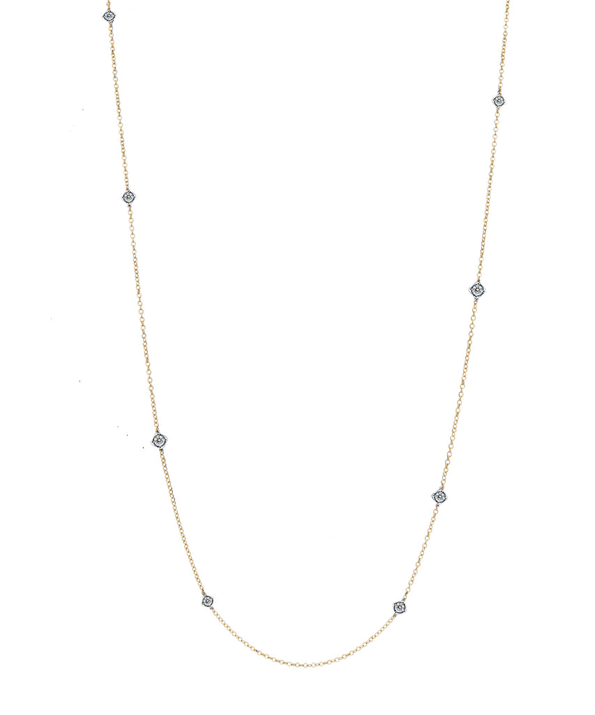 Long Chain with Bezel Diamonds - Lesley Ann Jewels