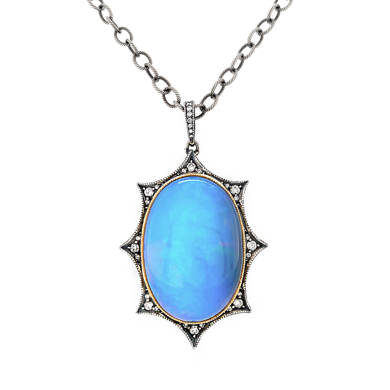 Opal Spike Locket - Lesley Ann Jewels