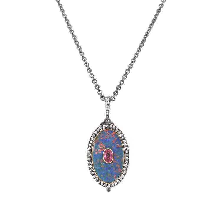 Opal and Ruby Oval Locket - Lesley Ann Jewels