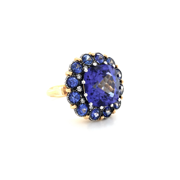 Tanzanite and Sapphire Cupcake Ring - Lesley Ann Jewels