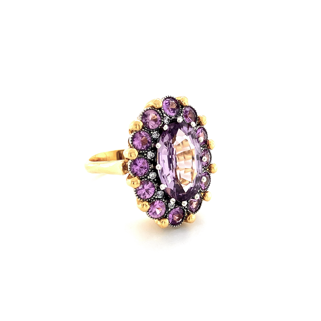 Spinel and Sapphire Cupcake Ring - Lesley Ann Jewels