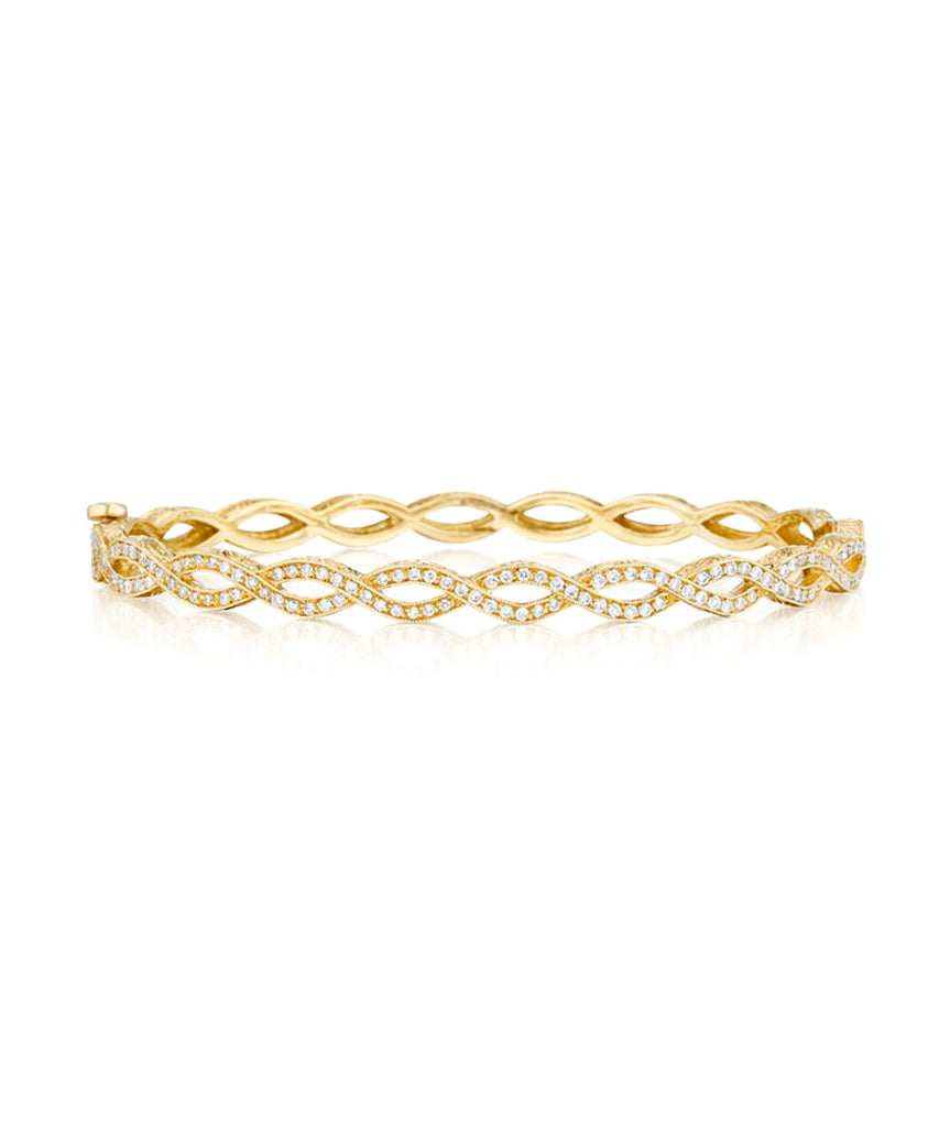 Entwined bangle in yellow gold
