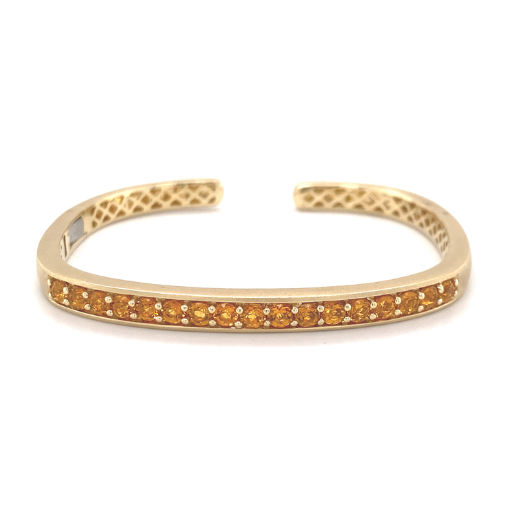 Hinged Rectangular Cuff With Citrine - Lesley Ann Jewels