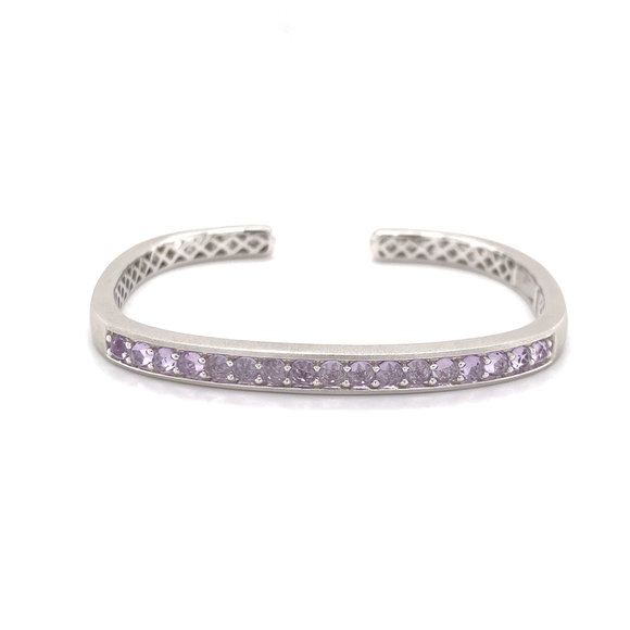 Hinged Rectangular Cuff With Rose De France Amethyst - Lesley Ann Jewels