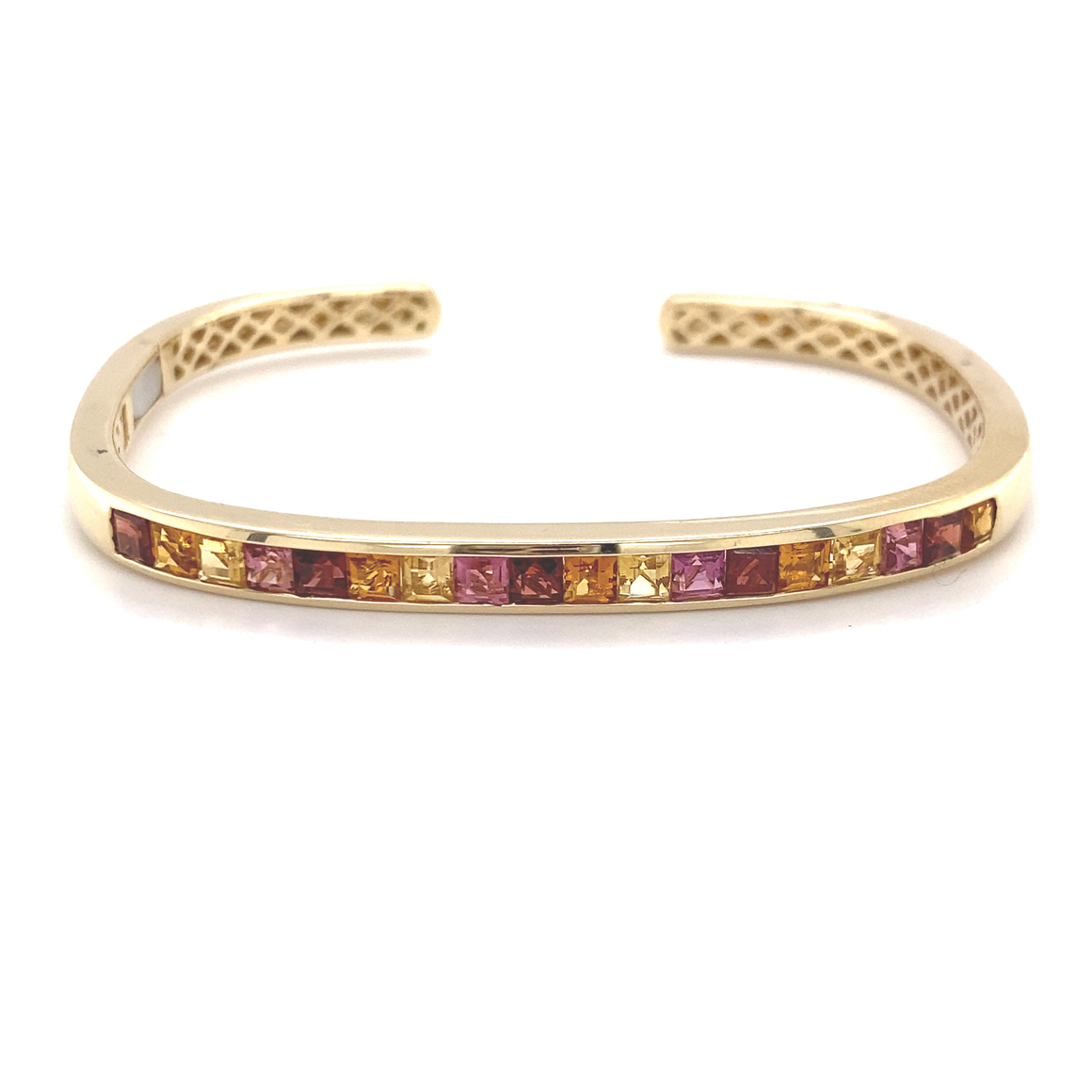 Hinged Rectangular Cuff With Red Garnet, Pink Tourmaline, Citrine And Yellow Beryl - Lesley Ann Jewels