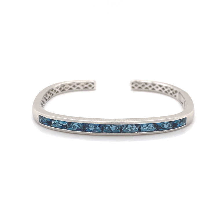 Hinged Rectangular Cuff With French Cut London Blue Topaz - Lesley Ann Jewels
