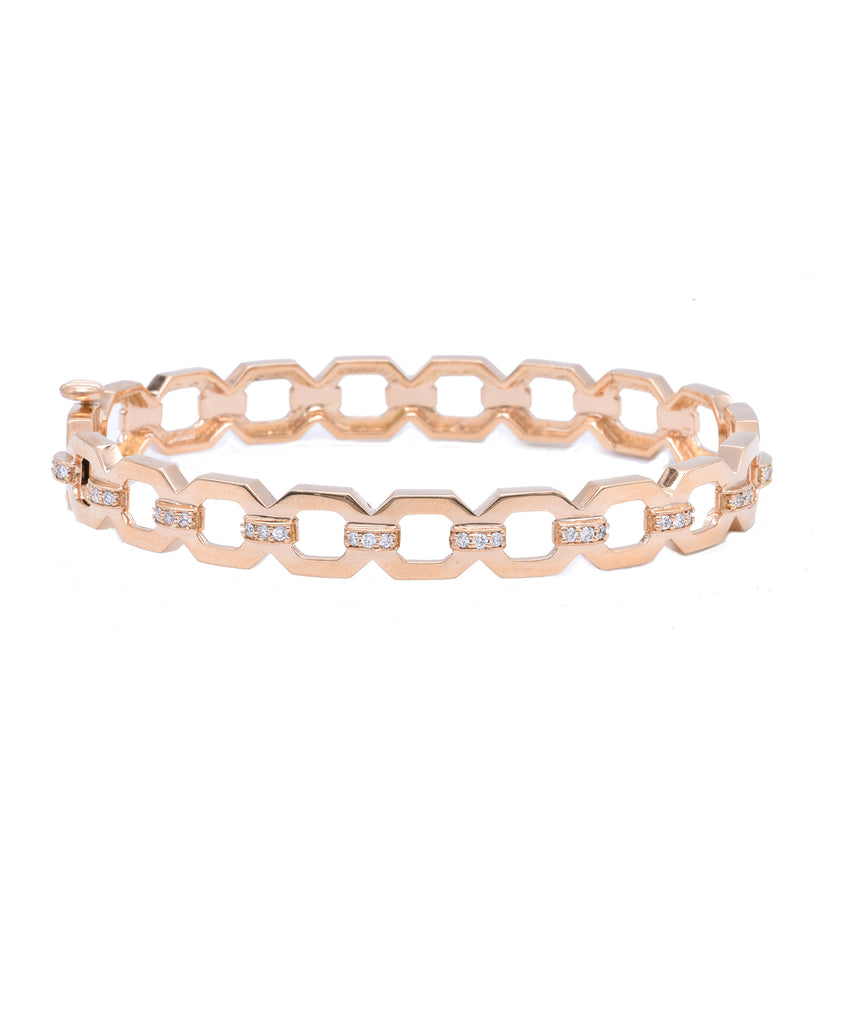 Rose gold sculpted link bangle - Lesley Ann Jewels