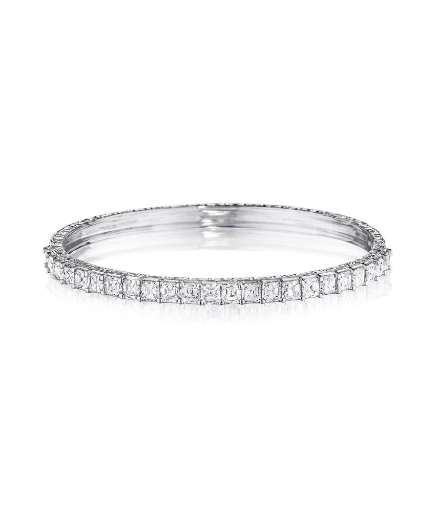 Asscher-Cut Diamond Bangle - Lesley Ann Jewels