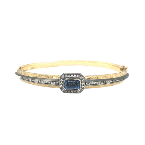 Blue Sapphire Hinged Bangle - Lesley Ann Jewels