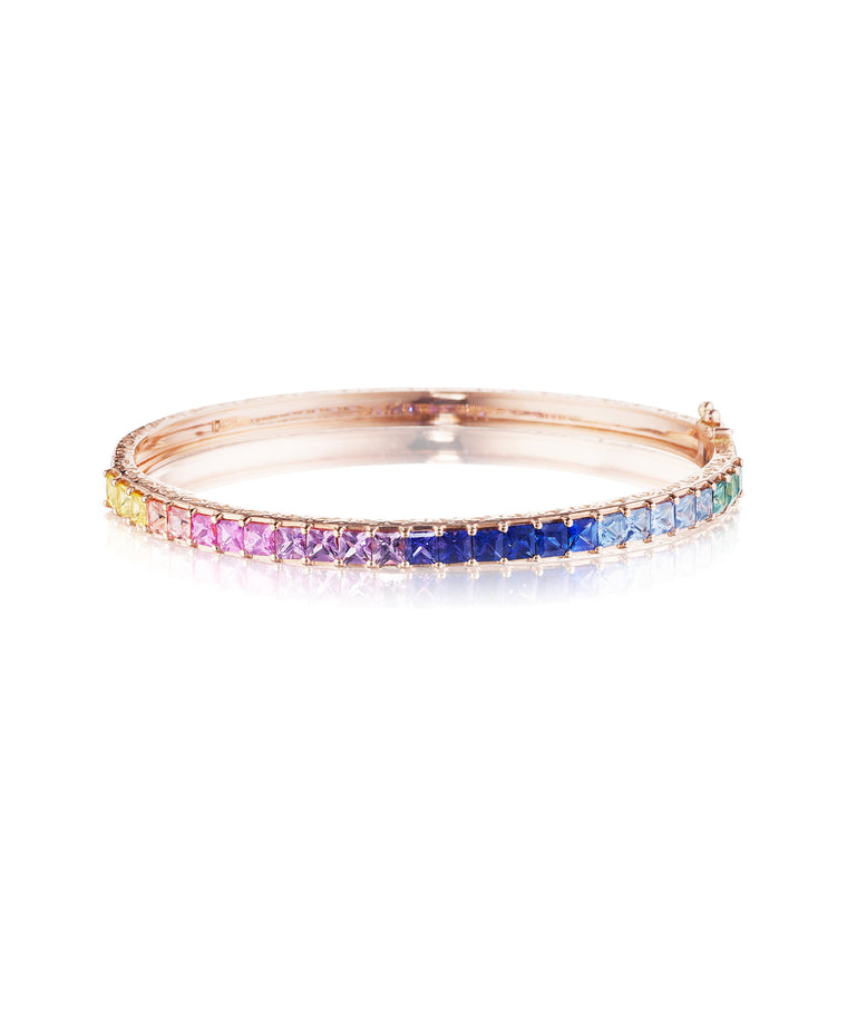 Princess-cut watercolor sapphire bangle