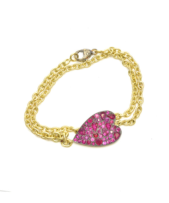 "Ruby ""Ten Table"" heart bracelet"
