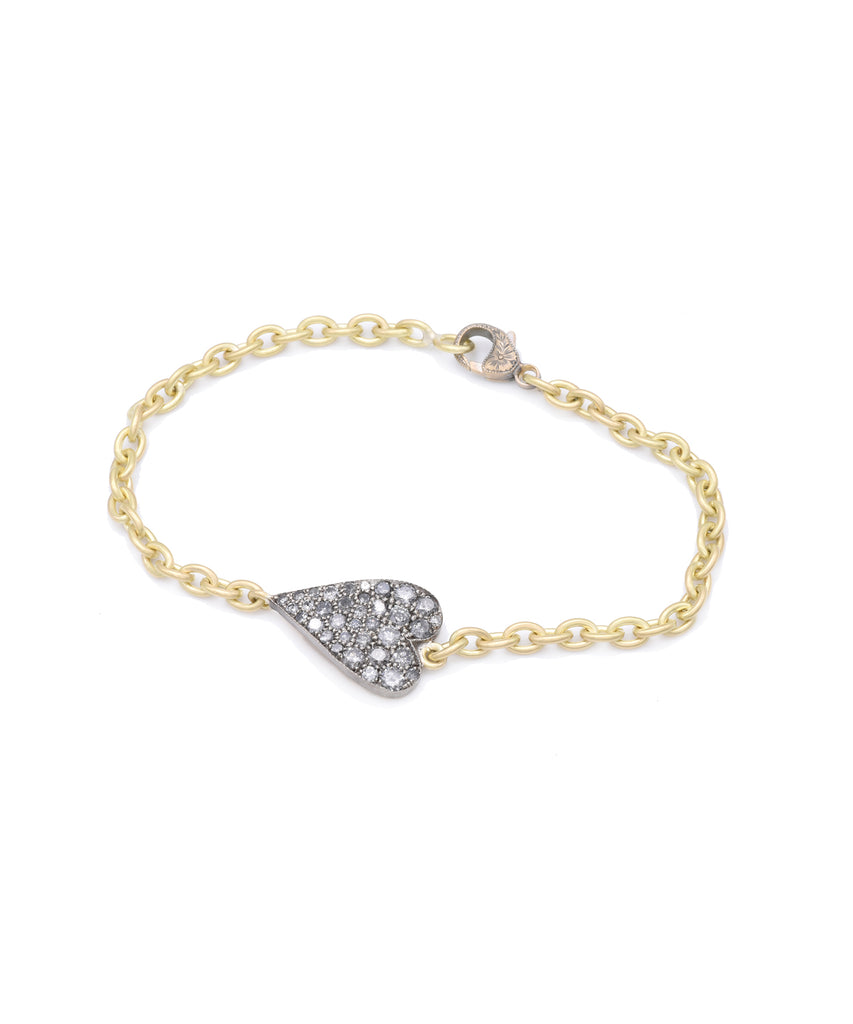 Small Heart Bracelet with Gray Diamonds