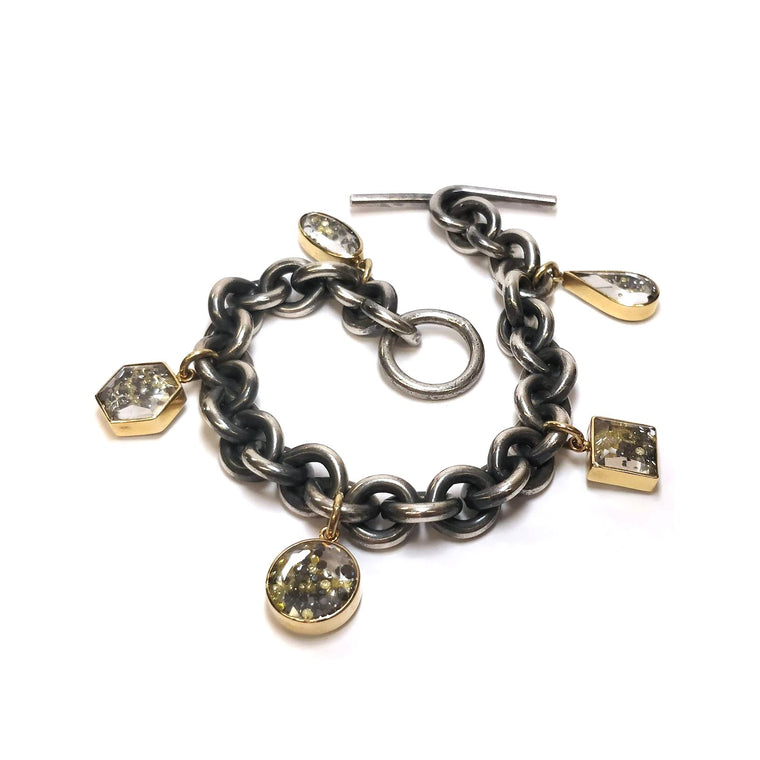 18k Gold and Sterling Silver Bracelet with Shaker Charms - Lesley Ann Jewels