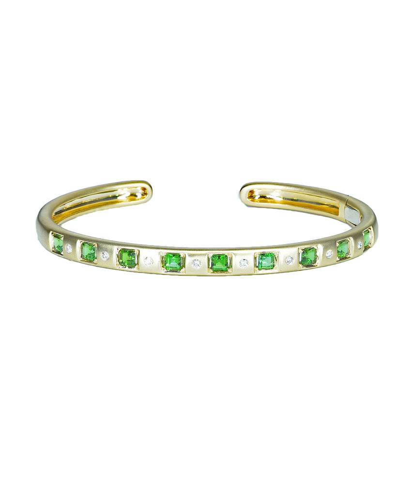 Cirque Vintage Inspired oval hinged cuff with green tourmaline and diamonds