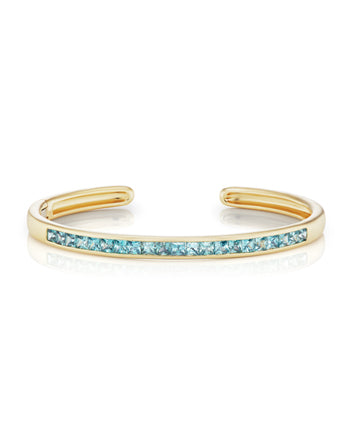 Cirque oval cuff with blue zircon