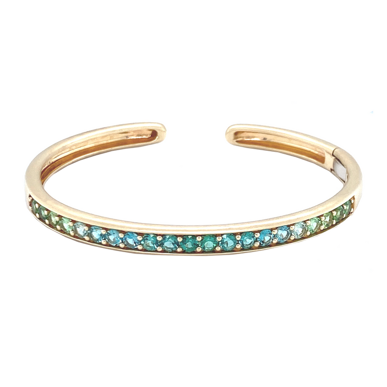 Cirque Oval Hinged Cuff with Blue-Green Ombré Tourmaline - Lesley Ann Jewels