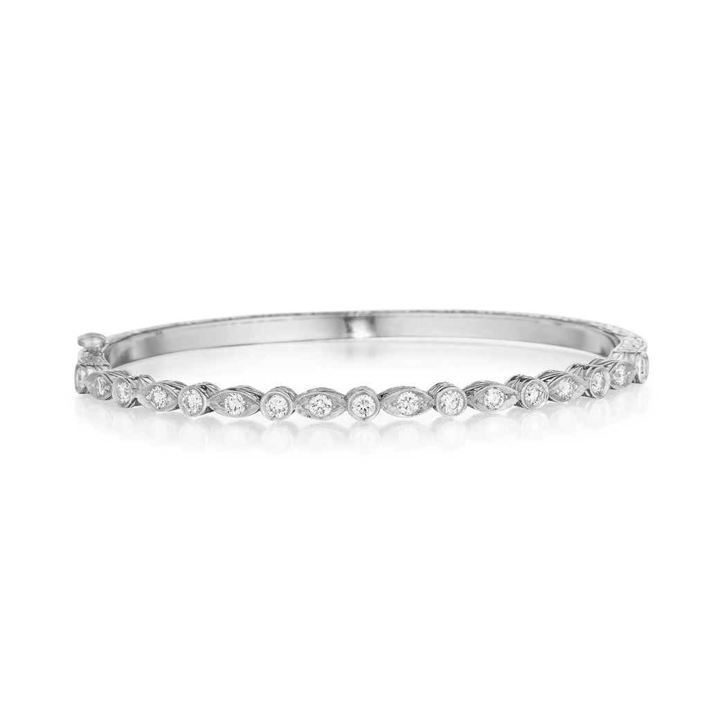 Round and Marquis Hinged Bangle - Lesley Ann Jewels