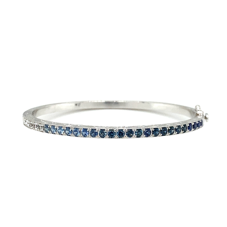 Blue Sapphire Ombre Bangle - Lesley Ann Jewels