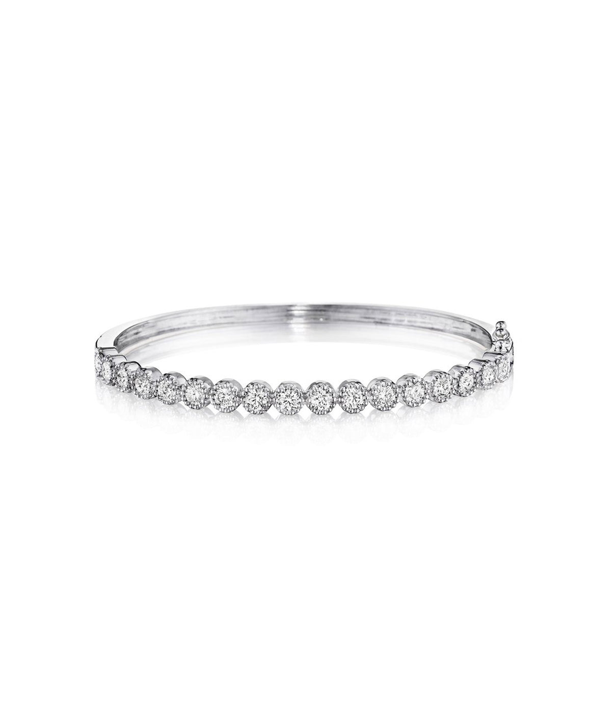 White gold beaded bangle