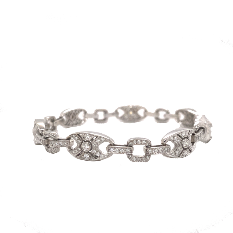 Art Deco Link Bracelet - Lesley Ann Jewels