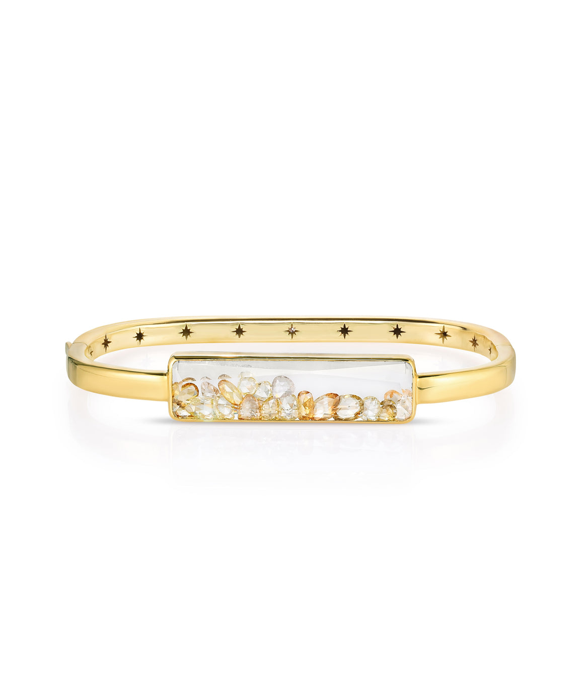 Yellow Diamond Baguette Square Shaker Bangle - Lesley Ann Jewels