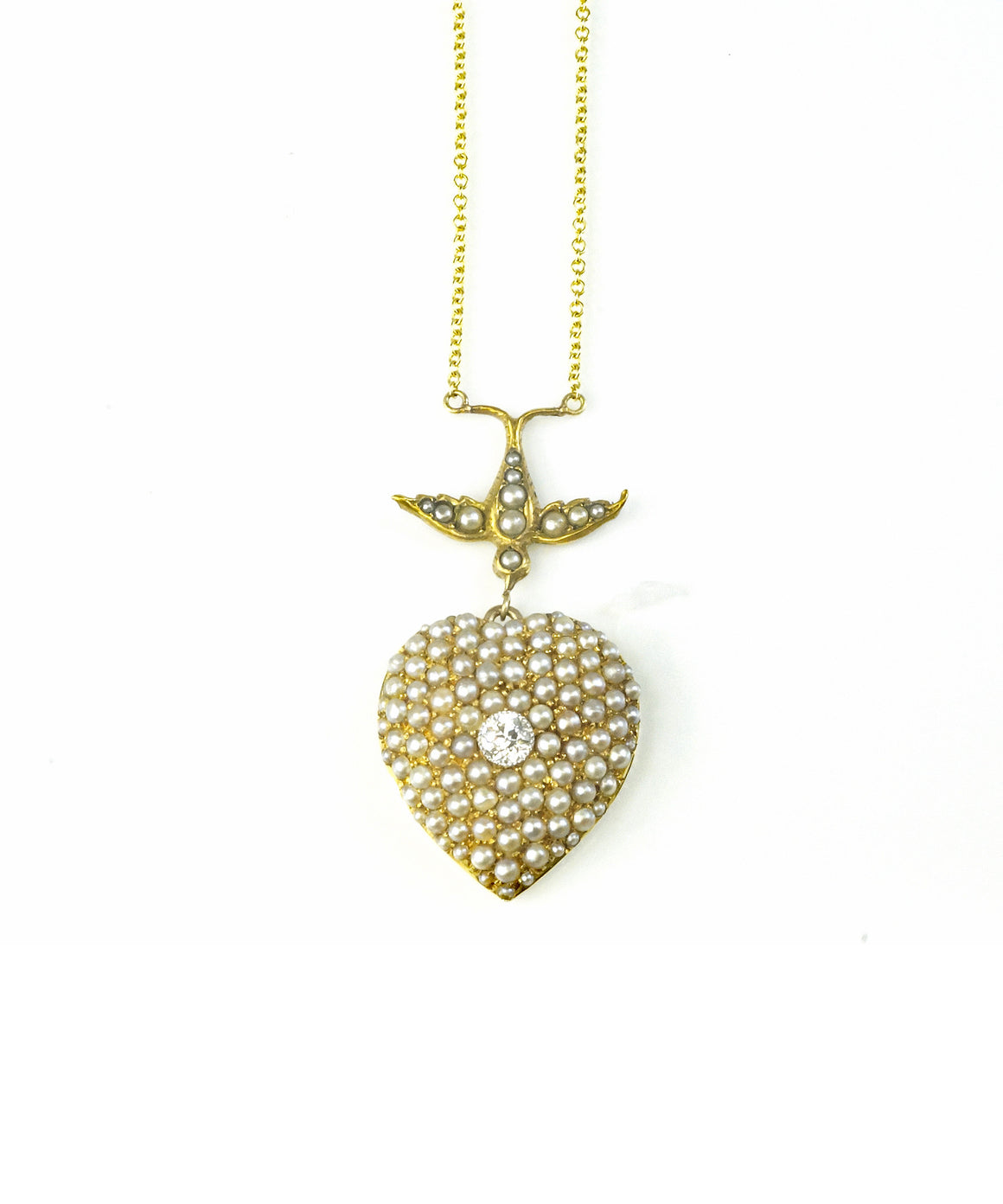 English bird and heart pendant