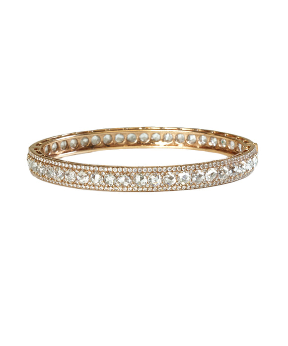 Oval bracelet with rose-cut diamonds
