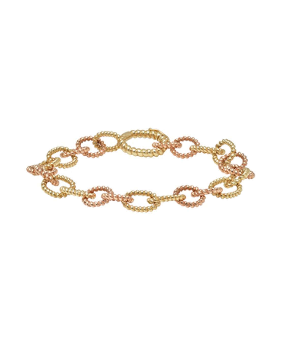 Two Toned Twisted Oval Link Bracelet - Lesley Ann Jewels