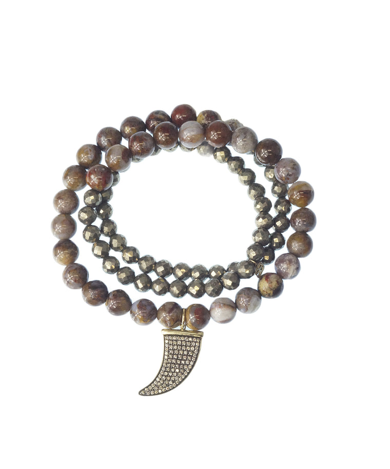 Opal and pyrite triple-wrap bracelet with horn charm