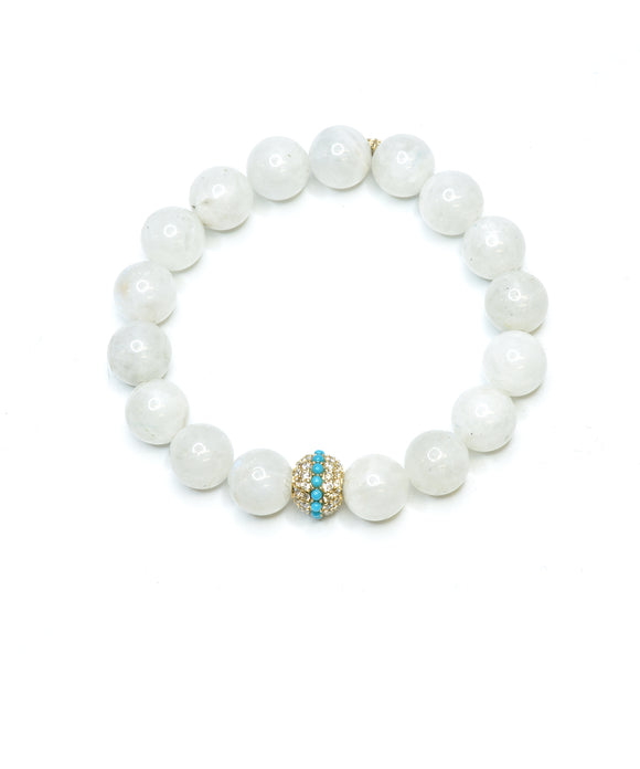 Moonstone bracelet with turquoise pavé bead