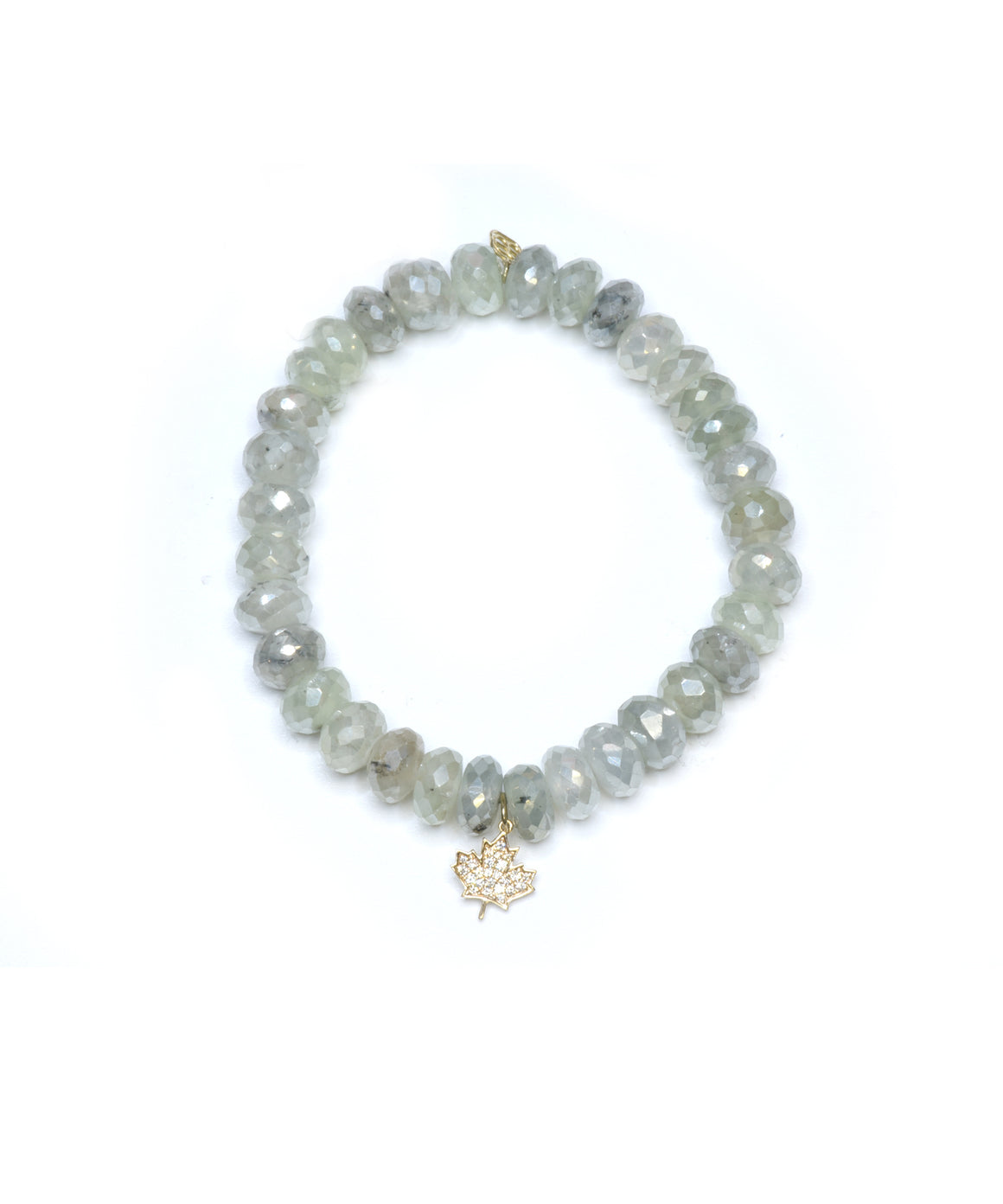 Prehnite bead bracelet with maple leaf charm