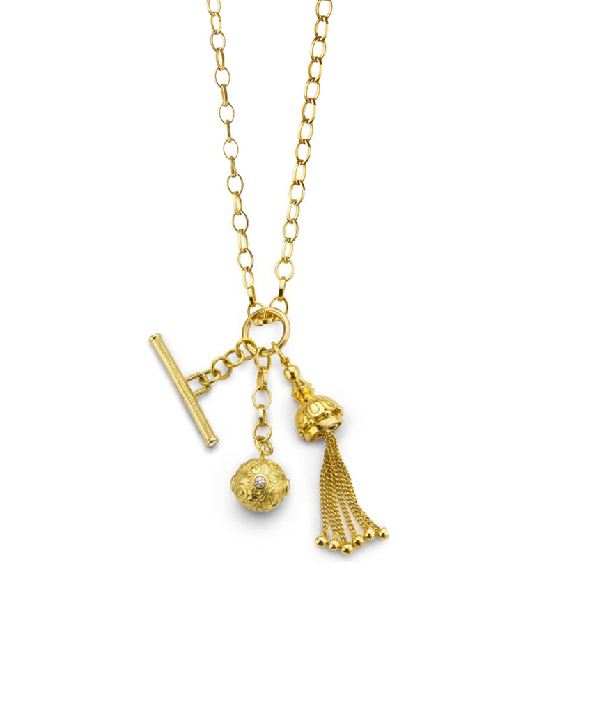 Yellow Gold Charm Necklace - Lesley Ann Jewels