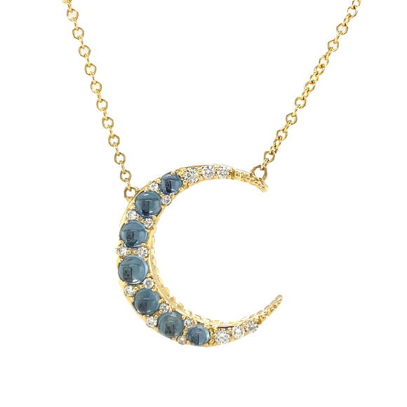 Aquamarine Mini Crescent Necklace
