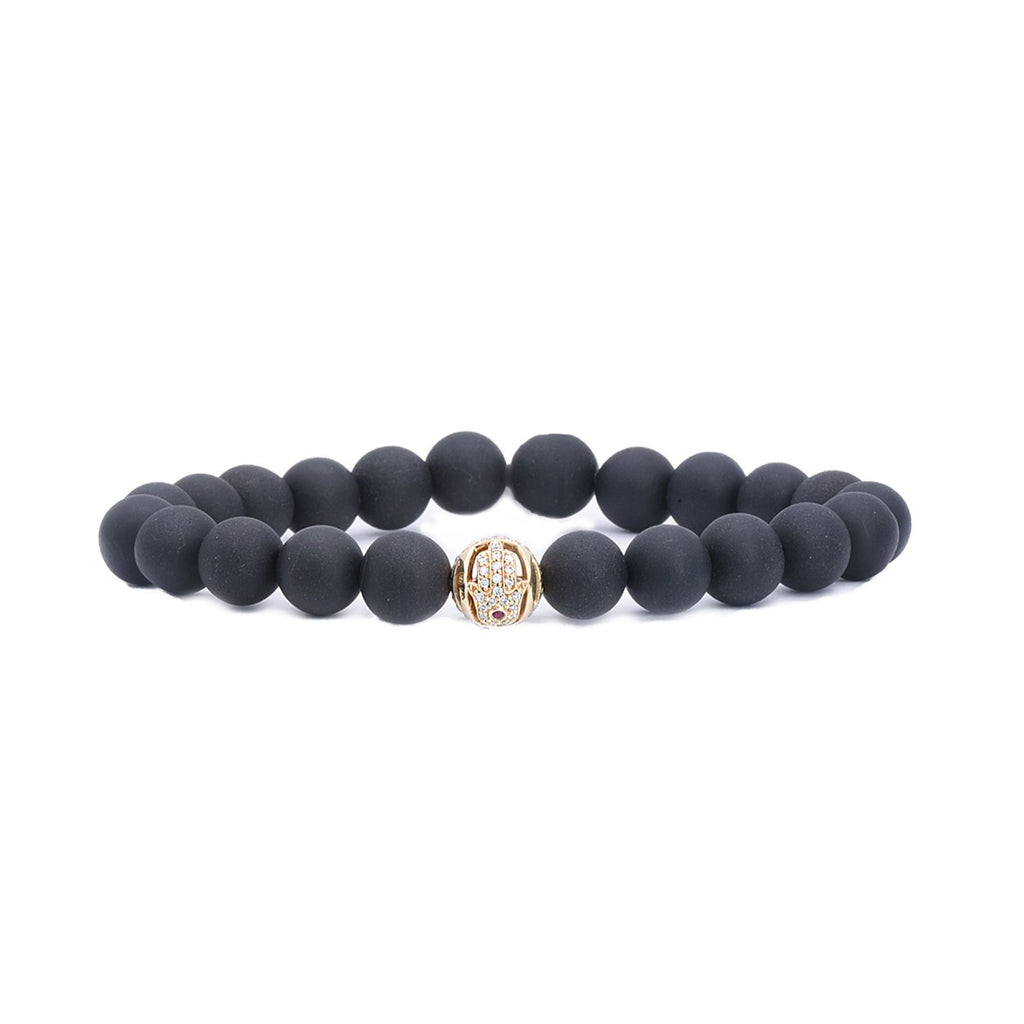 Onyx Bead Bracelet with Hamsa Bead - Lesley Ann Jewels
