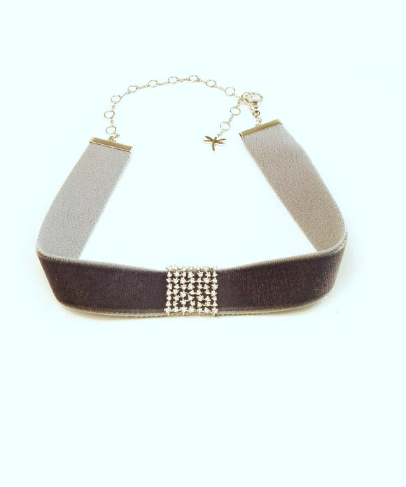 Grey velvet choker with diamond square