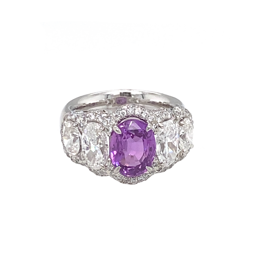 Oval Purple Sapphire Ring - Lesley Ann Jewels