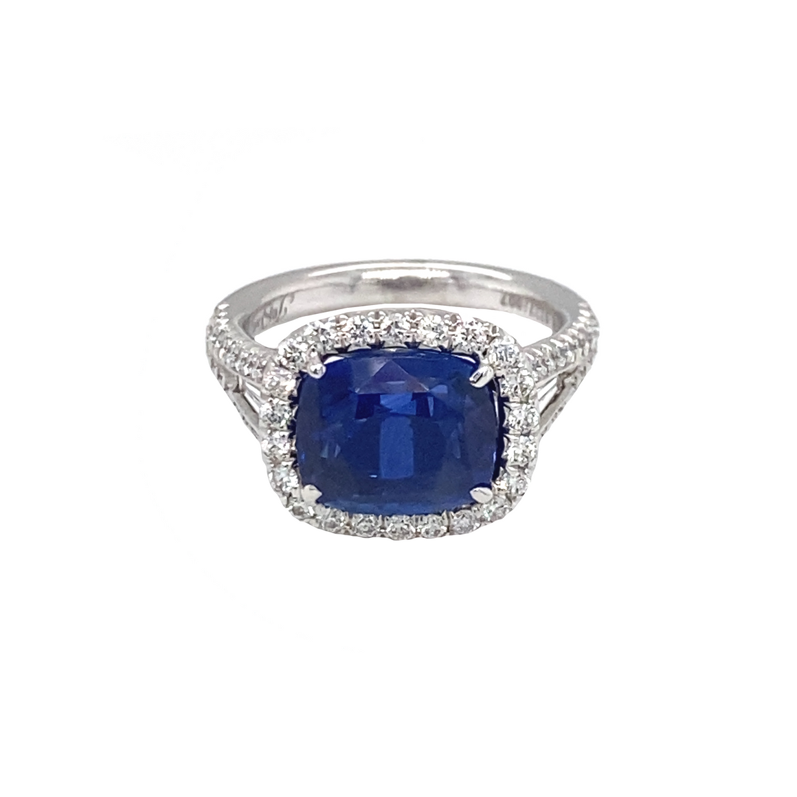Cushion Blue Sapphire Ring - Lesley Ann Jewels